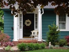 Home is what you are, The exterior is the face of the house that everyone will see in the first part. Come to get an Idea of Modern Exterior Design Exterior Paint Colors For House, Paint Colors For Home, Exterior Colors, Exterior Design, Teal Front Doors, Front Entry, Front Porch, Door Entry, Porch Entry