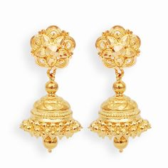 Beautiful Indian Brides With Bridal Wear Outfits Gold Jhumka Earrings, Indian Jewelry Earrings, Gold Earrings Designs, Gold Jewellery Design, Bridal Jewelry, Earings Gold, Jhumka Designs, Temple Jewellery, Gold Designs
