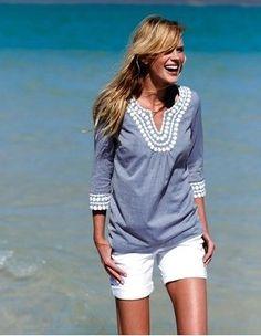 Embellished linen tunic