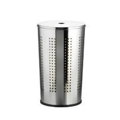 axentia Compact Chromed Metal Laundry Bin with Lid, Laundry Storage Bin Basket with Ventilation Holes, 50 l Capacity, approx. 36 x 36 x 58 cm, Silver Laundry Bin, Laundry Storage, Laundry Hamper, Chrome, Basket, Metal, Modern, House, Stuff To Buy