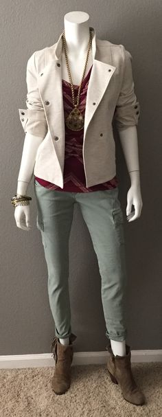 cabi Charlie Jacket, Printed Draped Tank & Celadon Cargo with fringed booties & a statement necklace.