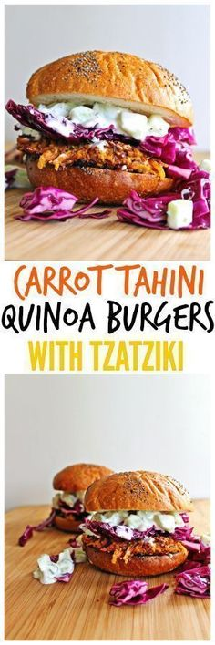 Unique and tasty homemade veggie burger recipe! Carrot tahini quinoa burgers are topped with freshly made tzatziki and a nutty cabbage slaw. So good! // Rhubarbarians