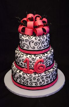 6 8 10 Inch Round Cakes Covered In Fondant And Decorated With Royal Icing For A Sweet 16 Birthday Party