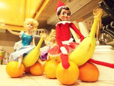 Elf on the Shelf Fruit-Kart racing with Barbie Friends @ TheCraftyPickle.com