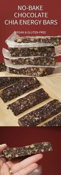 no bake chocolate chia gluten free energy bars 13 Energy Bar Recipes For A Healthy Afternoon Pick Me Up Vegan Sweets, Healthy Sweets, Healthy Baking, Vegan Desserts, Raw Food Recipes, Gluten Free Recipes, Healthy Snacks, Snack Recipes, Bar Recipes