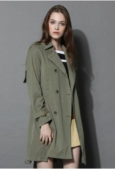 Timeless Double-breasted Coat in Army Green - Outers - Retro, Indie and Unique Fashion