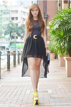 Super cute black dress and Neon Giant wedges