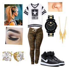 """""""army girl for life """" by lauraissweetandawesome on Polyvore featuring beauty, NIKE, Movado, Gorjana and Diamondsy"""
