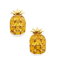 Citrine and Gold Pineapple Clip Brooches by Suzanne Belperron, circa 1942