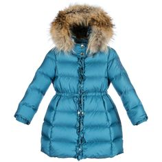 Roberto Cavalli Girls Blue Down Padded Coat & Fur Trim Hood at Childrensalon.com