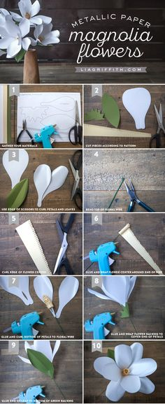 DIY Metallic Paper Magnolia Tutorial from MichaelsMakers Lia Griffith
