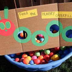 The Very Hungry Caterpillar Activities for Toddlers and Preschoolers - Feed the hungry caterpillar ball game – A fun party game for kids - Toddler Learning Activities, Toddler Preschool, Preschool Activities, Fun Learning, Educational Activities, The Very Hungry Caterpillar Activities, Hungry Caterpillar Craft, Toddler Party Games, Fundraiser Party