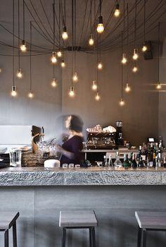 karhard ® architecture + design-Tin Restaurant Bar Club Berlin - Decoration for House Restaurant Berlin, Deco Restaurant, Restaurant Design, Restaurant Lighting, Bar Lighting, Kitchen Lighting, Berlin Cafe, Kitchen Lamps, Ceiling Lighting