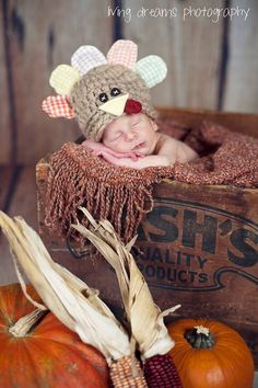 Newborn Turkey Hat ... Thanksgiving Baby Hat ... Newborn Thanksgiving Prop .. Fall Baby Prop ... Gobbles the Turkey .. NEWBORN. $42.00, via Etsy.