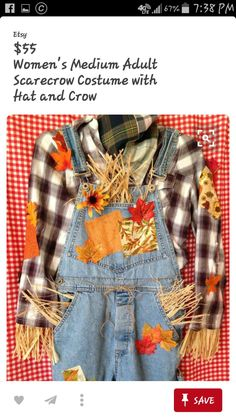 Scarecrow Costume Women, Costume Halloween, Costumes For Women, Crafty, Denim, Jackets, Etsy, Fashion, Costumes