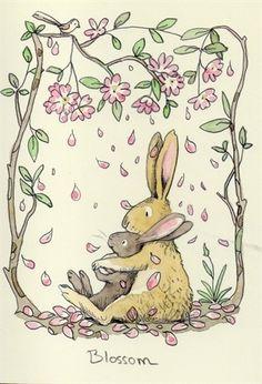 Blossom by Anita Jeram ~ Rabbit and bunny with flowering trees art print. Bunny Art, Cute Bunny, Rabbit Illustration, Illustration Art, Lapin Art, Anita Jeram, Rabbit Art, Rabbit Drawing, Nursery Art