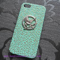 iphone 5/5S case,iphone 5/5S cover,studded The Hunger Games Mockingjay Logo mint green color Embossed flower iphone 5 case on Etsy, £7.56