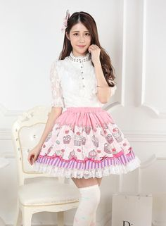 Sweet Lolita Pink Knee-length Lace Pleated Skirt with Desserts Prints Customized Lolita Fashion $59.00 #Lovejoynet #Lolita #Dress