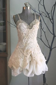 What an adorable wedding dress of repurposed doilies and lace! Love it.
