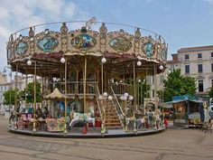French old-fashioned style carousel with stairs in La Rochelle.