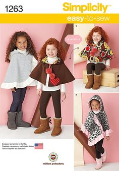 Simplicity Pattern 1263A S-M-L -Kids Jacket / Coat