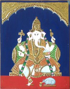 Ganesha Painting, Tanjore Painting, Form Drawing, Lord Ganesha, Country Of Origin, Handmade Art, Art Forms, Elephant, Watercolor