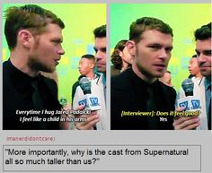 OMGGG HAA HAA EVEN THE VAMPIRES FEEL SMALL IN JAREDS ARMS FROM MY NAME IS DEAN WINCHESTER IM AMN AQUARIUS SPN QUOTES FACEBOOK PAGE