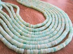 Blue Peruvian Opal Beads, Smooth Heishi, 5mm to 6mm, brides bridal, weddings, SKU 3433A