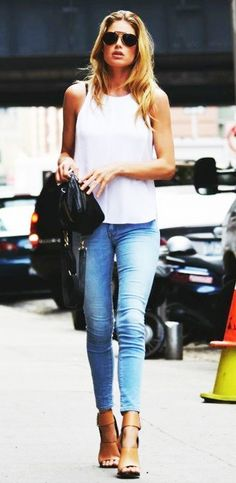 The always chic Doutzen Kroes in a casual white tank and jeans