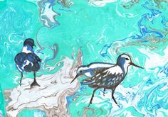 Shore Birds | Suminagashi and watercolor painting | Sharon Giles | Flickr