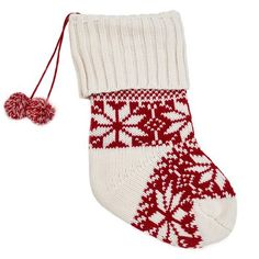Berkshire Blanket Red and White Knit Stocking with Pom Poms