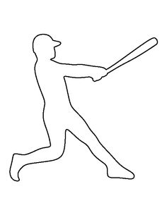 Baseball player pattern. Use the printable outline for crafts, creating stencils, scrapbooking, and more. Free PDF template to download and print at http://patternuniverse.com/download/baseball-player-pattern/