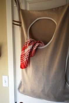 Laundry Bag Hamper Hanging  Natural Linen by RedCheckMarket, $44.00   - I wish I had a sewing machine to DIY this.  What a great idea.