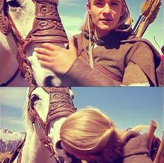 Orlando and Percy (his horse). Unfortunately, Percy got a little wild one day and Orlando broke a rib when he fell off and Gimli landed on top of him.