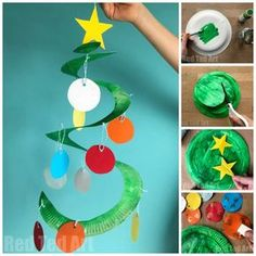 Lovely and easy Paper Plate Christmas Tree Whirligig - these Paper Plate Twirlers are a great Christmas Craft for Preschoolers. So easy and fun to make. Preschool Christmas Crafts, Christmas Trees For Kids, Xmas Crafts, Christmas Gifts, Christmas Decorations For Classroom, Christmas Crafts For Kids To Make At School, Christmas Activities For Families, Christmas Arts And Crafts, Handmade Christmas