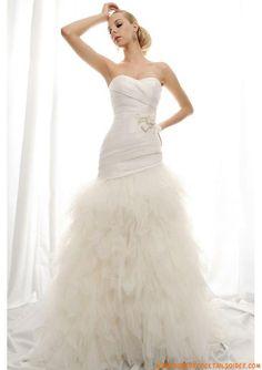 Robe A-line 2013 avec traîne col en cœur ceinture plissé robe de mariée tulle