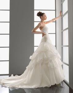 A-line sleeveless organza floor-length bridal gown