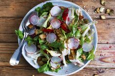 Escarole Salad With Za'atar Pita Crisps, Blood Oranges, Radishes, and Hazelnuts, a recipe on Food52