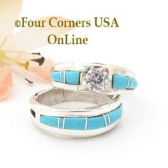 Four Corners USA Online - Size 6 1/2 Turquoise Engagement Bridal Wedding Ring Set Navajo Wilbert Muskett Jr WS-1684, $240.00 (http://stores.fourcornersusaonline.com/size-6-1-2-turquoise-engagement-bridal-wedding-ring-set-navajo-wilbert-muskett-jr-ws-1684/)