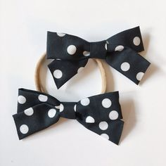 $9   School Girl Black and White Polka Dot Bow with Nylon Band or Alligator Clip, baby, newborn, infant, preemie, one size fits most, toddler, baby bows, baby shower, birthday favor, girl birthday, stretchy headband, ever iris, ever iris designs, everirisdesigns, christening, wedding, baptism, blessing day, it's a girl, its a girl, etsy, for girls, boutique, nylon band, shop small saturday, Christmas gift for girls, stocking stuffer for girls, present, petite, accessories, fabric bow…