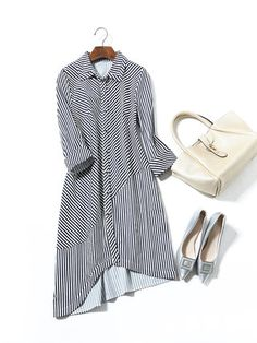 Black Stripes Asymmetric Casual Cotton Shirt Dress Cotton Shirt Dress, Casual, Pattern Drafting, Black Stripes, Bell Sleeve Top, Hot, Shirts, Outfits, Exterior