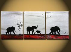 Original peinture grand abstrait éléphants Silhouette africaine arbre généalogique et les oiseaux modernes contemporains fine art toile de paysage de savane
