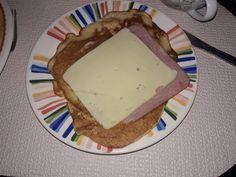 Pancakes #desayuno queso y jamón