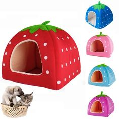 Super Cute Strawberry Style Dog Cat PET BED House Nest Cave Bed Small Animals #Unbranded