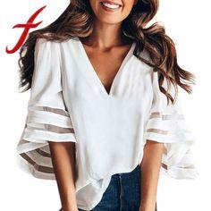 3b43f614759 Women chiffon blouses summer causal v neck tops short sleeve loose pullover blouse  shirt blusas feminina