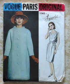 Vintage 60s Vogue Paris Original LAROCHE Coat & Dress Sewing Pattern