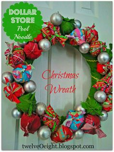 Pool Noodle Christmas Wreath - Use fabric scraps and a dollar store pool noodle to complete this Christmas craft.