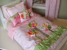 American Girl Doll Bedding  5pc Set  Decorative Pillows by sashali, $28.99