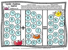 Insect Friends Addition Games for Fact Fluency Addition Games, Math Addition, Addition And Subtraction, Math Board Games, Math Boards, Fun Math, Math Activities, Maths, Mega Math