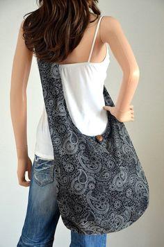 Paisley, Slouch Bags, Hippie Bags, Boho Bags, Bag Patterns To Sew, Purple Bags, Denim Bag, Fabric Bags, Cotton Bag